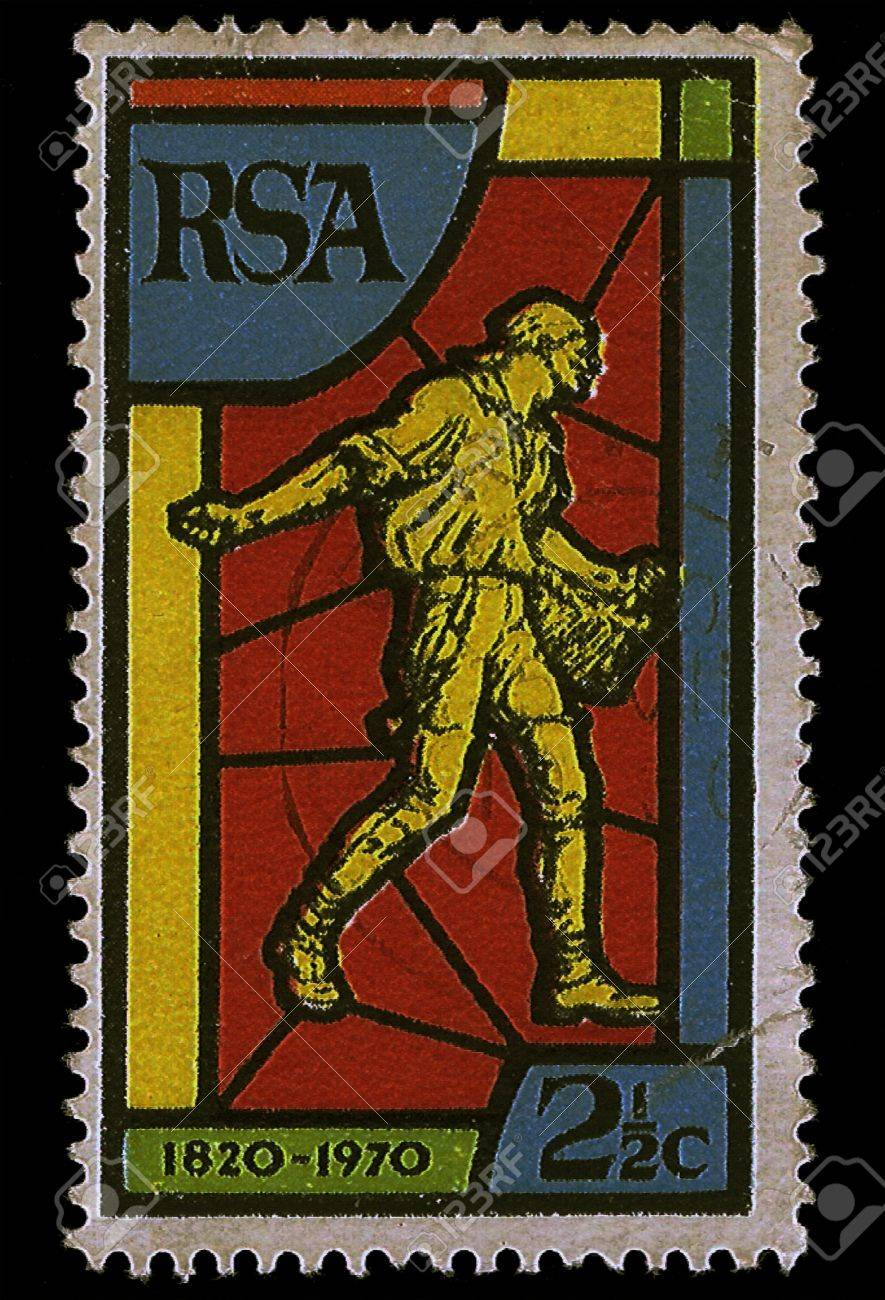 SOUTH AFRICA - CIRCA 1970  A stamp Printed in South Africa shows sower, dedicated 150 anniversary of the SA Bible Society 1820-1970, circa 1970 Stock Photo - 13178789