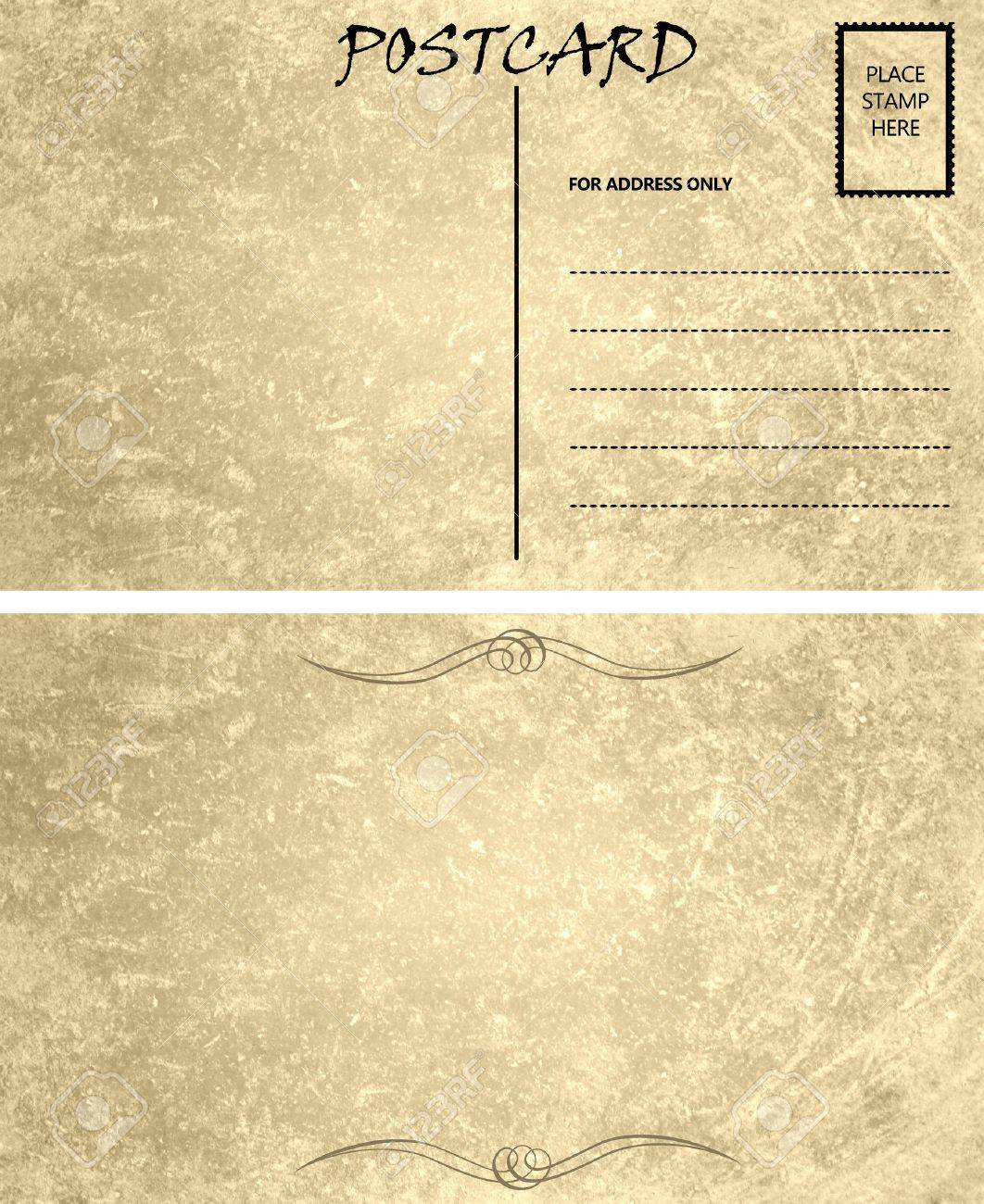 vintage stained postcard template with copy area front and back