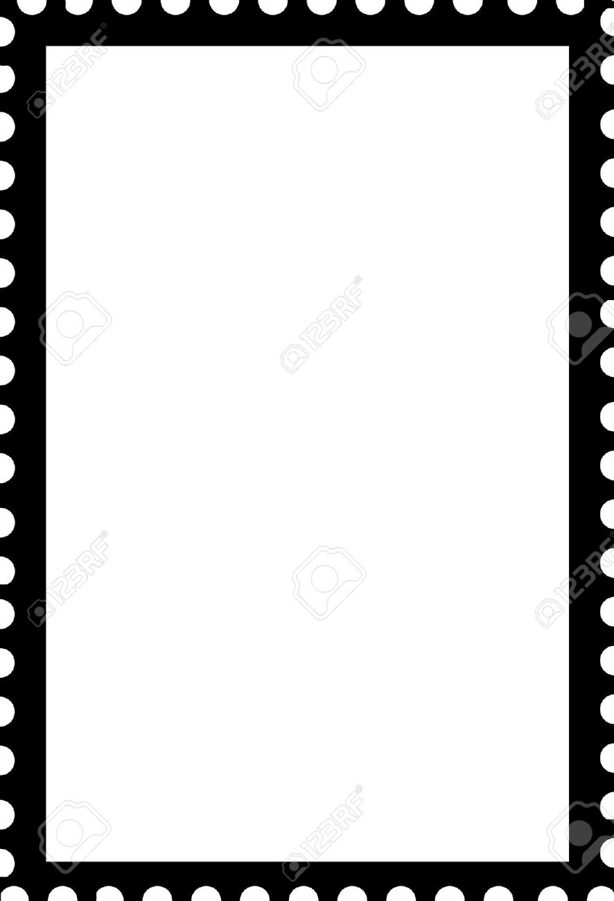 Blank Open Postage Edge Outline Portrait Template Black On White To Create  Own Stamp Stock Photo