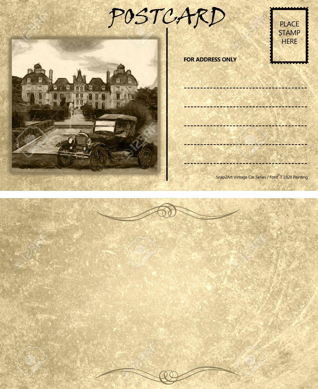 Vintage Motor Car Stained Postcard Template With Copy Area Front
