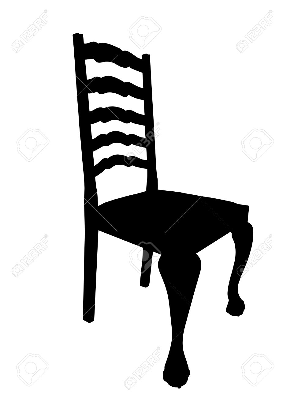 Illustration of Antique Dining Table Chair Silhouette Isolation Stock Vector - 13397527
