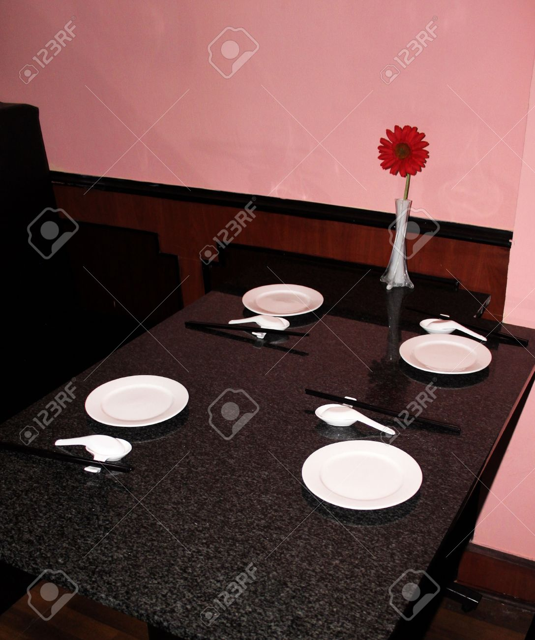 Simple restaurant table setting - Simple Table Setting At A Chinese Restaurant On Marble Table Top Stock Photo 14017658