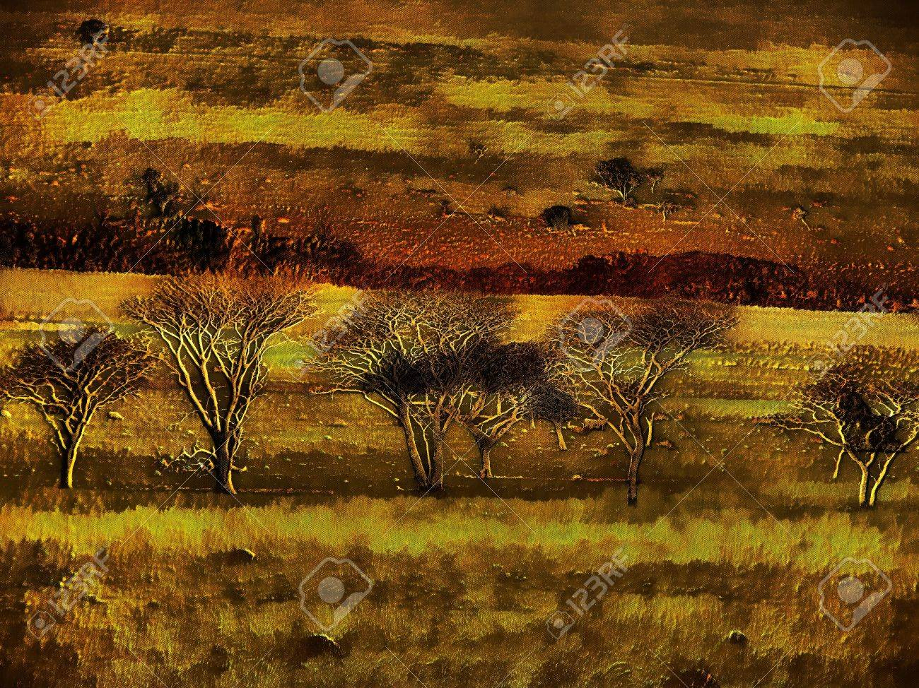 unique 3d bare winter trees in nature painting on canvas stock photo
