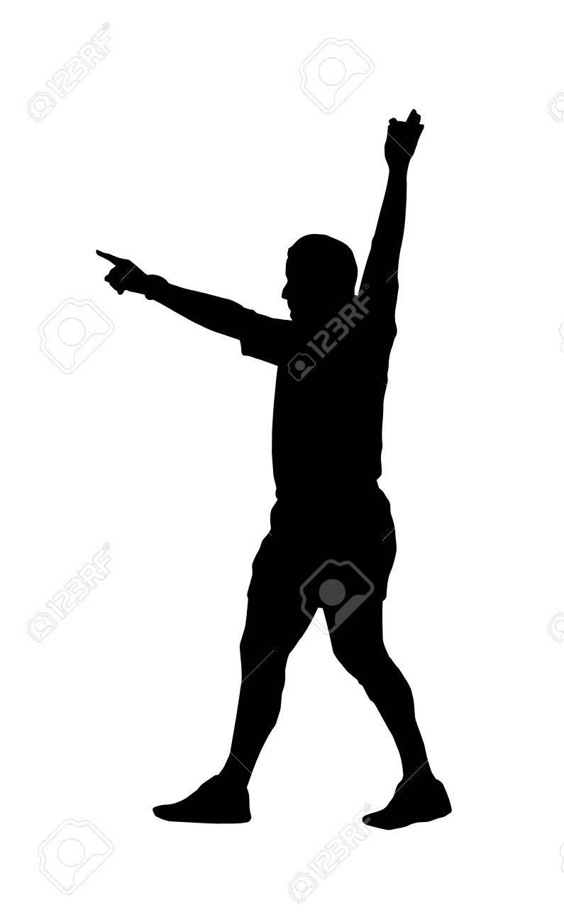 Sport Silhouette - Rugby Football Referee Holding Hand Up Indicating Foal Play Stock Vector - 14854629