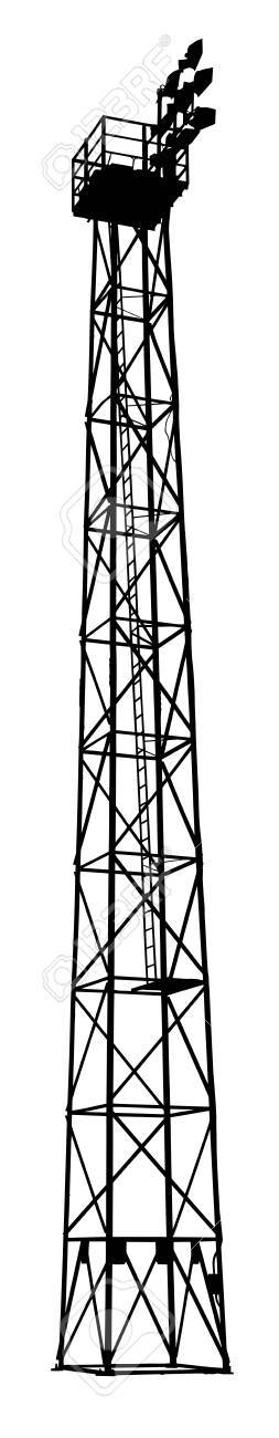 Isolation of Detailed Silhouette of a Sports Field Flood Light Tower Stock Vector - 17158055