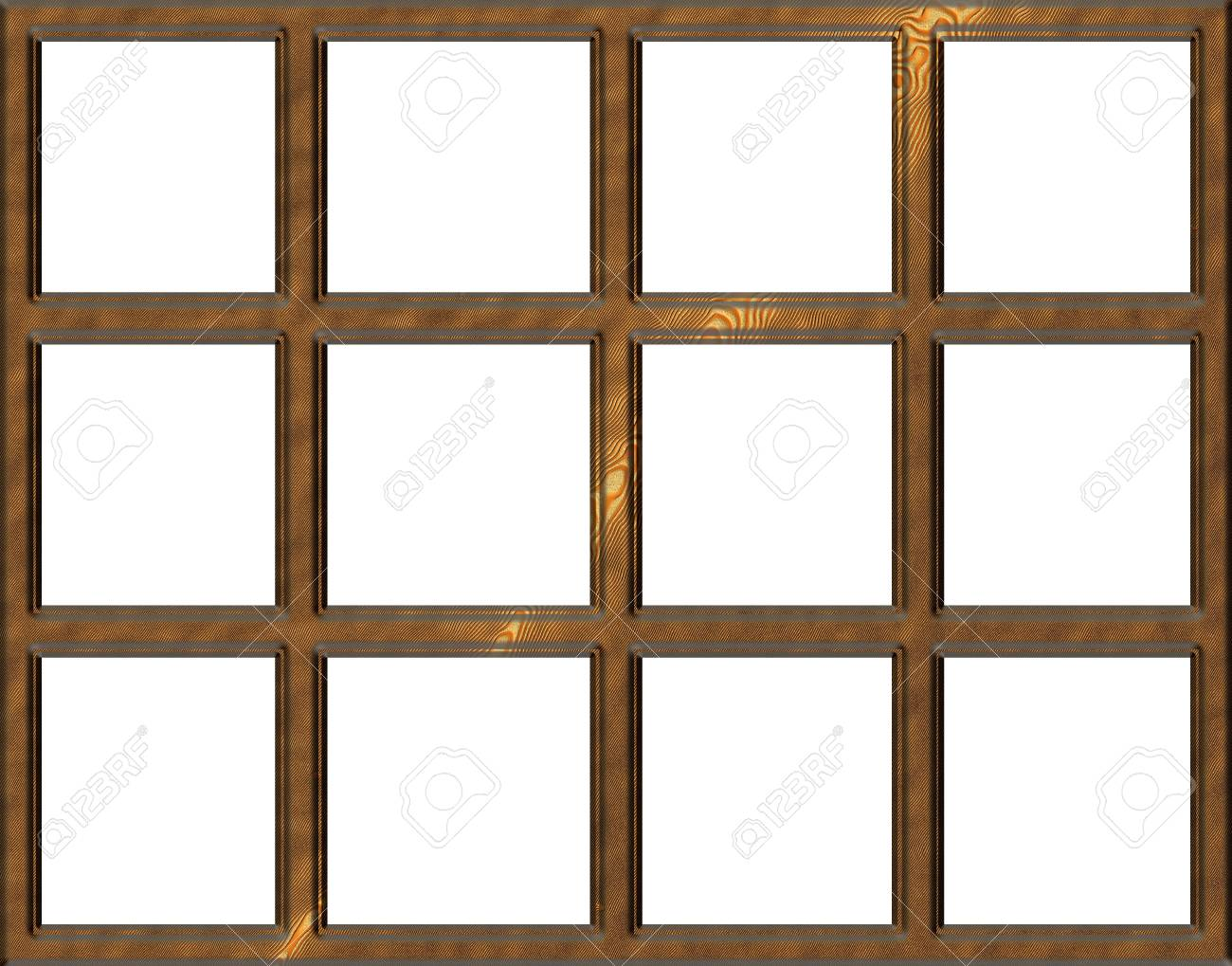 Isolated Wooden Window Frame With Open Squares Stock Photo   17202628