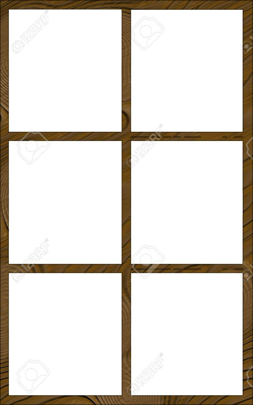 Isolated Single Layered Contoured Wooden Six Window Narrow Frame ...
