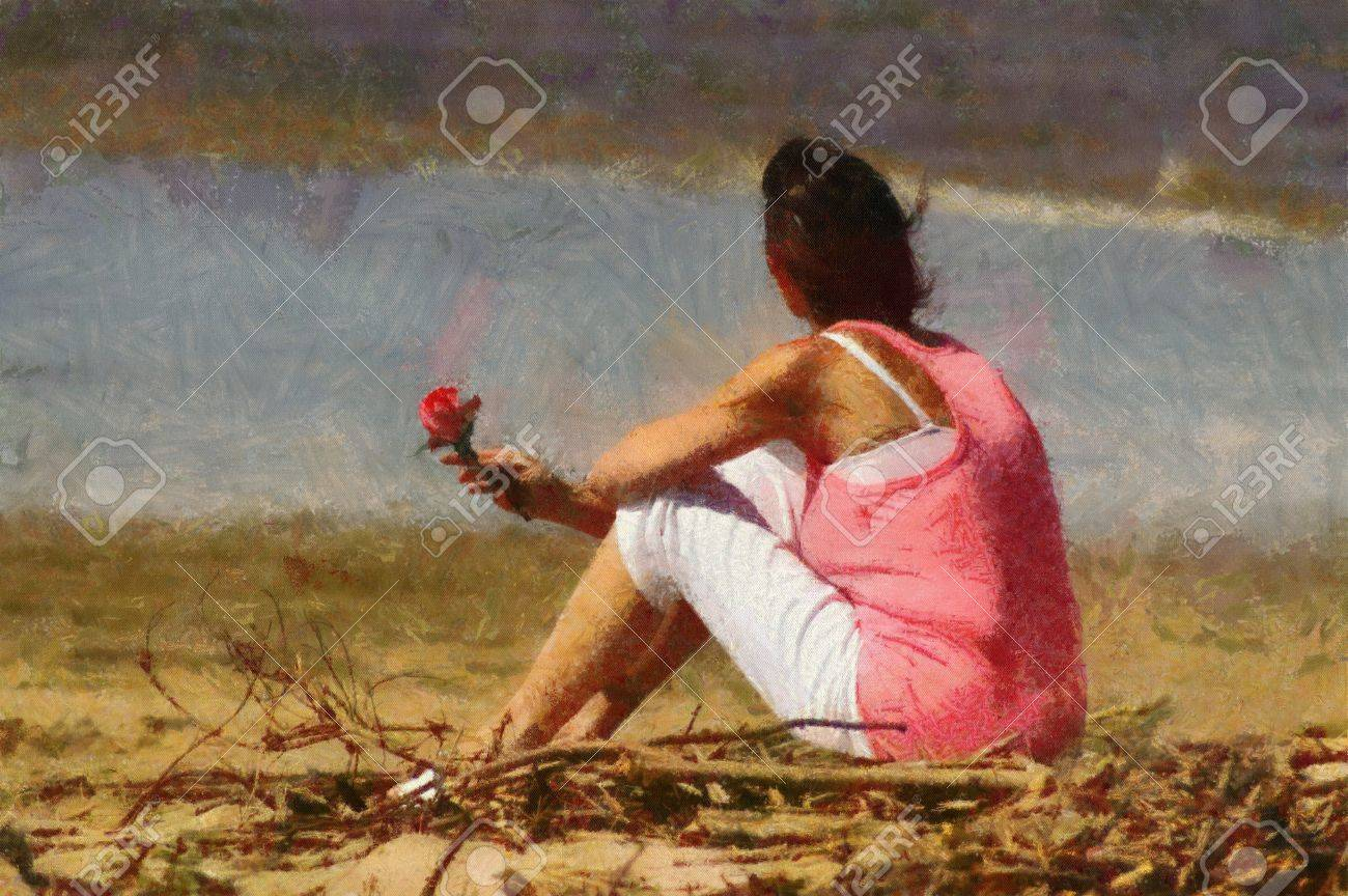 Pink woman with rose sitting alone on beach painting stock photo 19189109