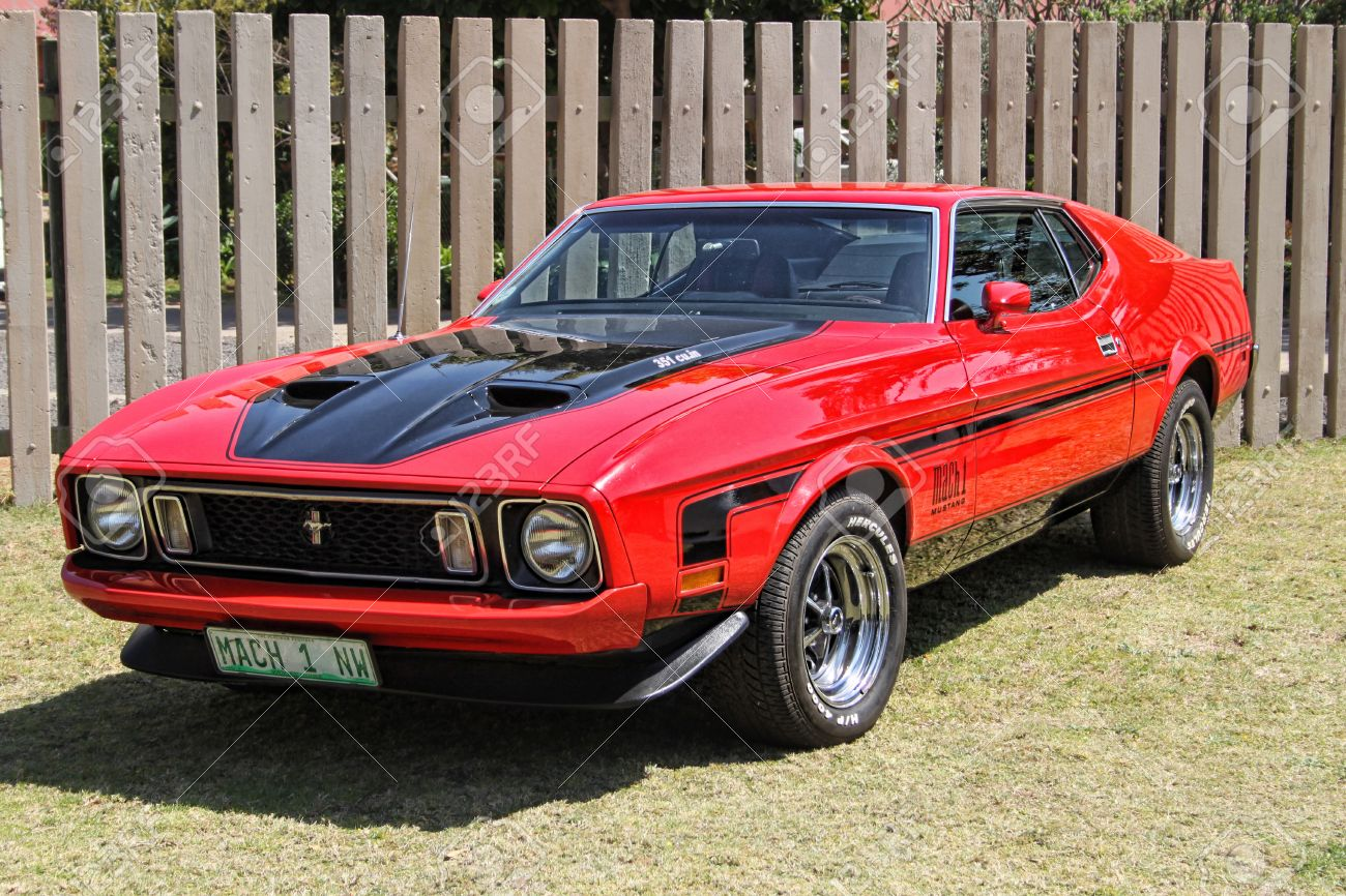 Rustenburg south africa september 9 a bright red ford mustang mach 1 on display