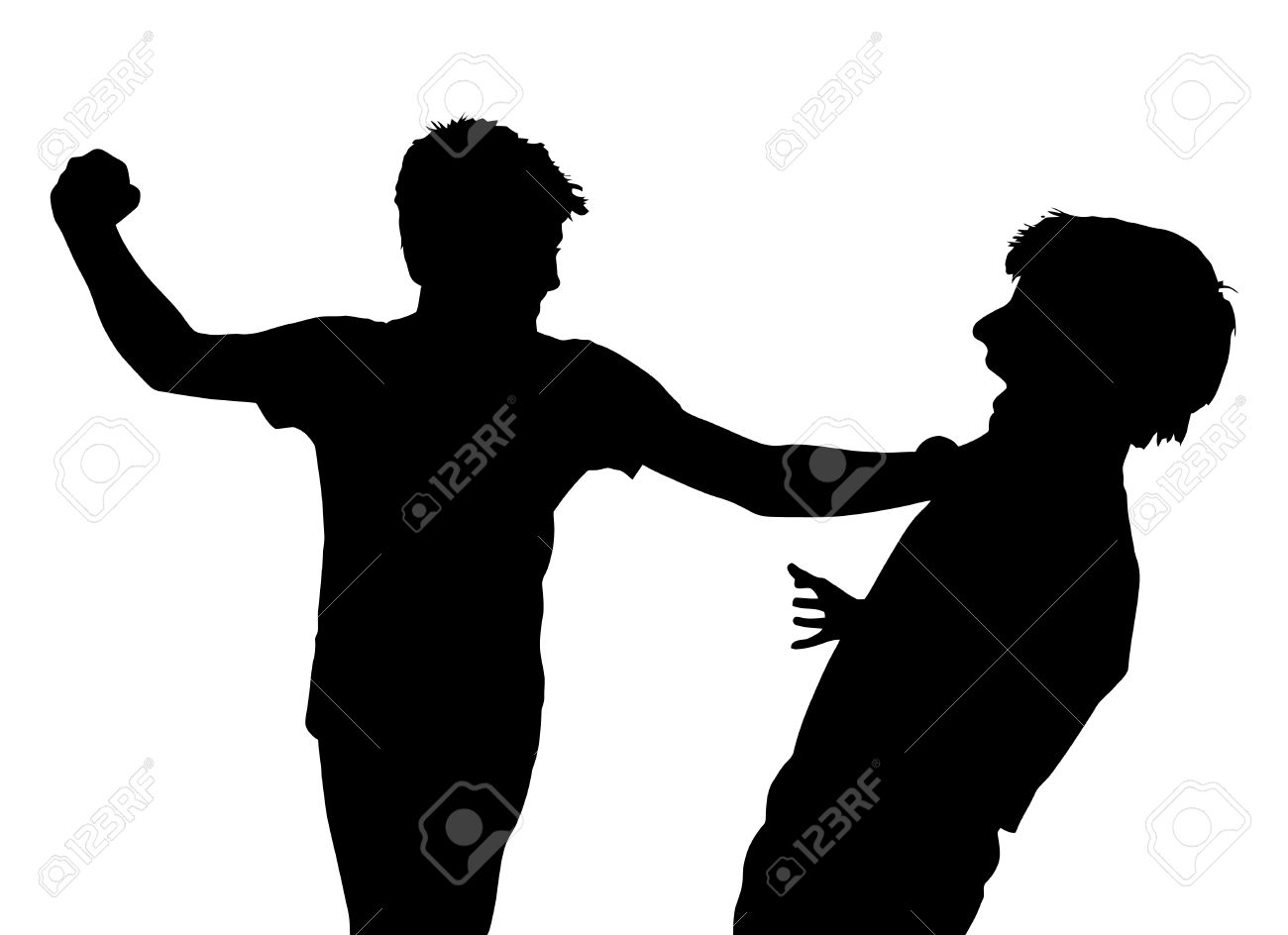 Image of Teen Boys In Fist Fight Silhouette Stock Vector - 26393660