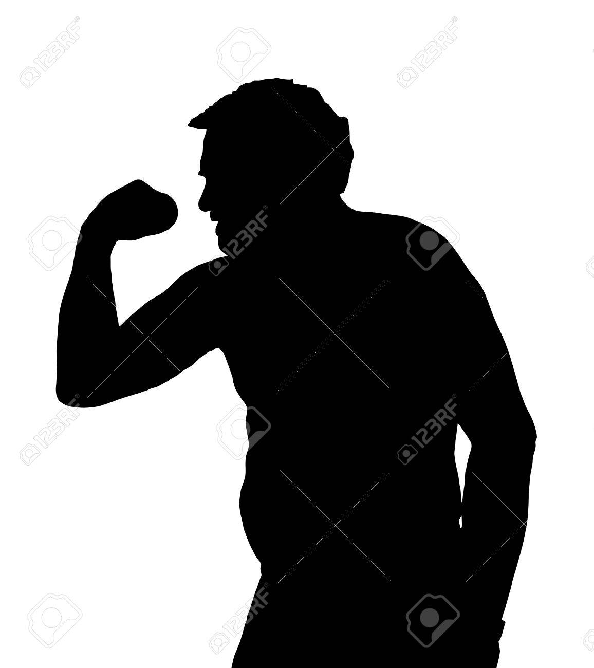 Man Silhouette with Potbelly Exercising with a Dumbbell Stock Vector - 27583780
