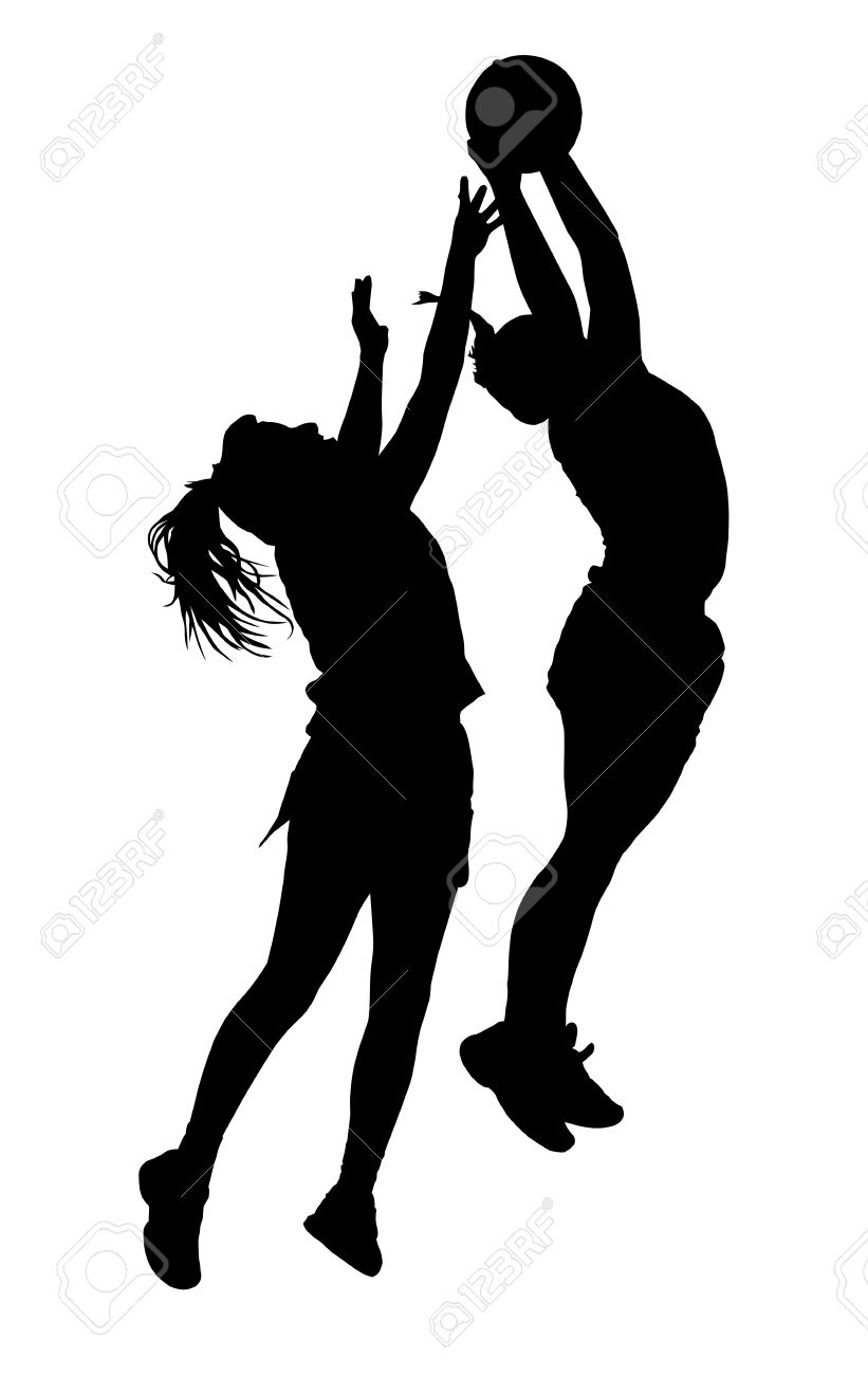 Black on white silhouette of korfball ladies league players girl catching ball stock vector 48188501