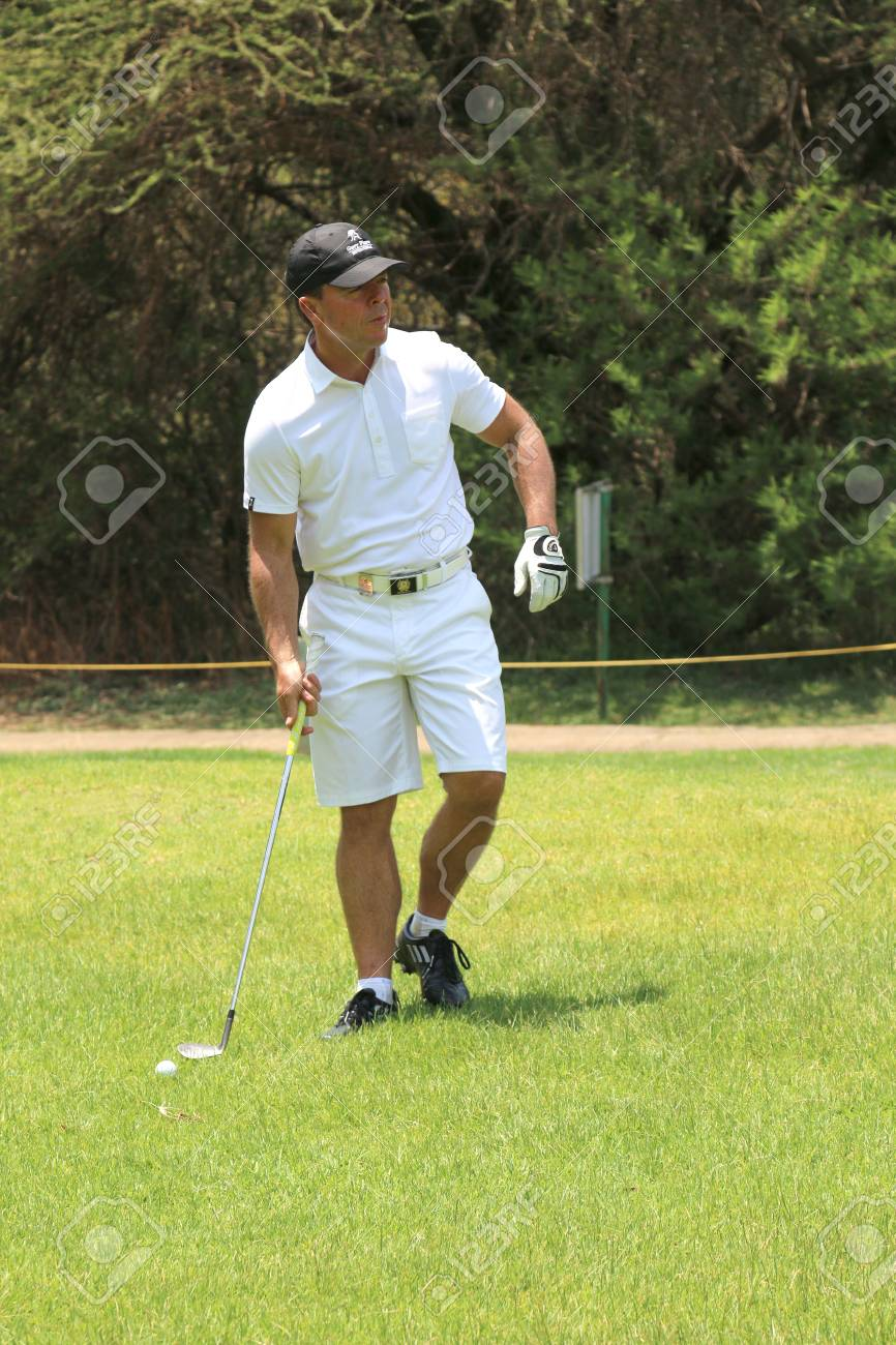 PLAYER, WAYNE - NOVEMBER 15: Son of Gary at Gary Player Charity Invitational Golf Tournament contending with some rougher grass on November 15, 2015, Sun City, South Africa. - 48333814