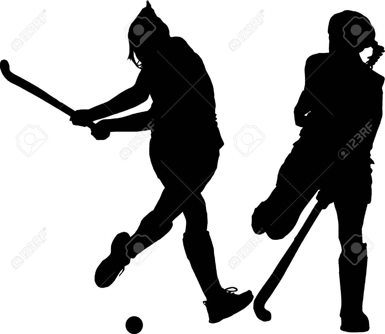 Black on white silhouette of girls ladies hockey players hitting and blocking ball stock vector