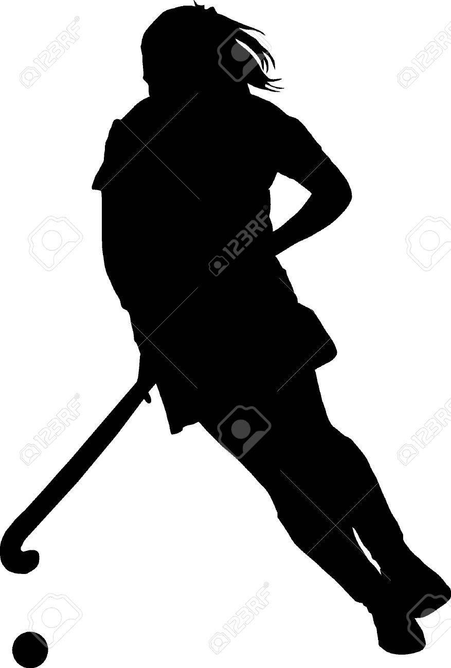 Black on white silhouette of girl ladies hockey player dribbling ball stock vector 63008556