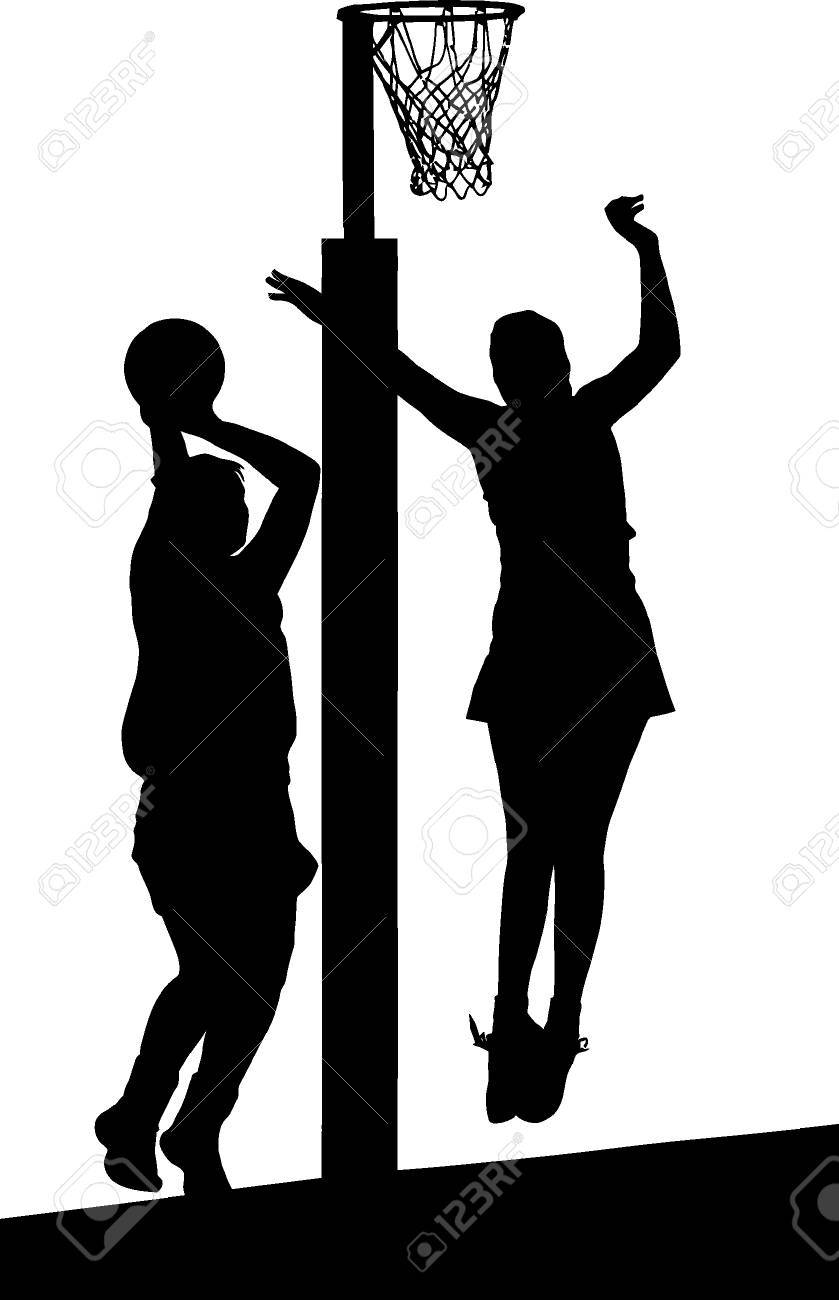 Black on white silhouette of girls ladies netball players jumping and blocking goal stock vector
