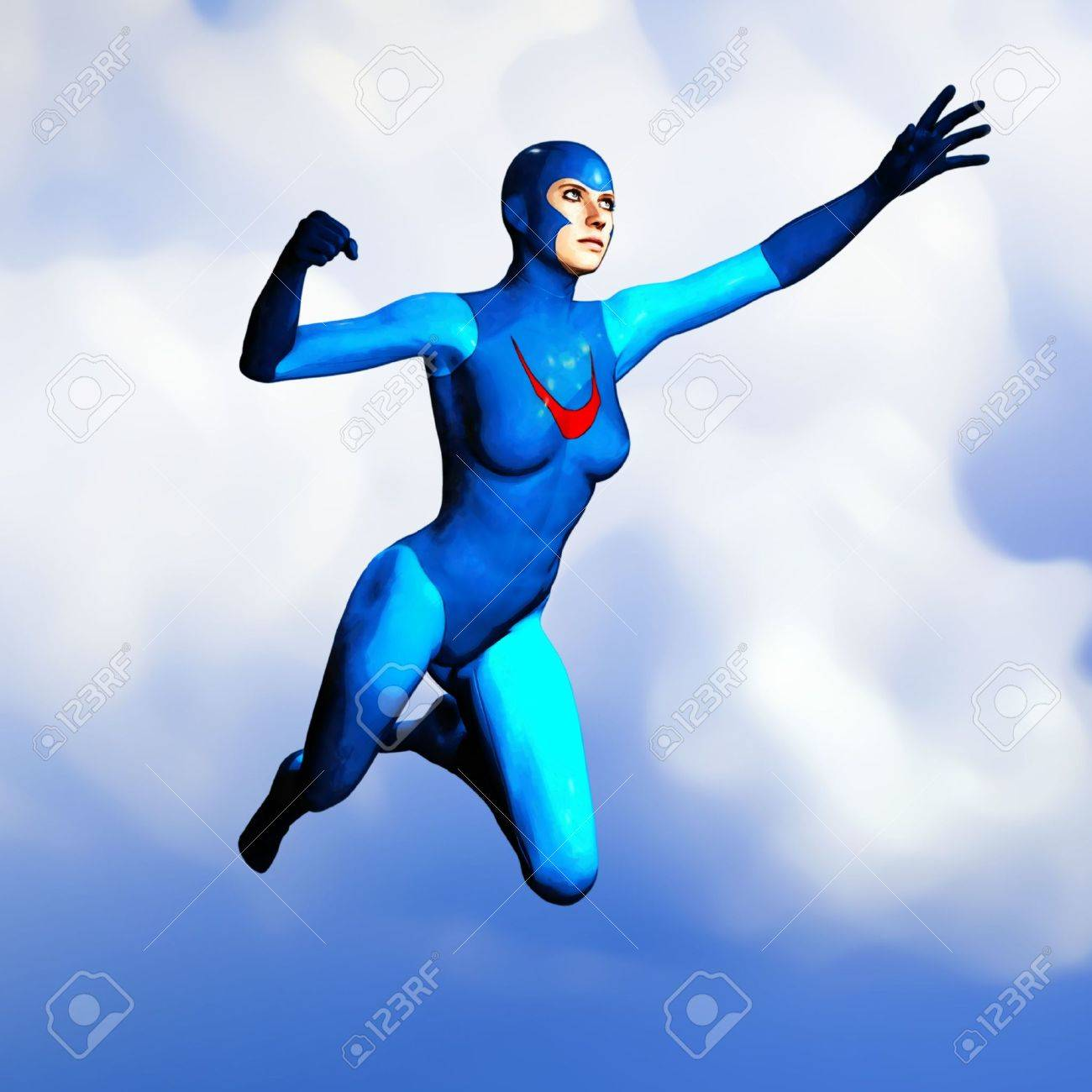 Illustration of a non-specific female superhero in a blue costume, flying through the sky.  Based on an original render by the artist. Stock Illustration - 2732000