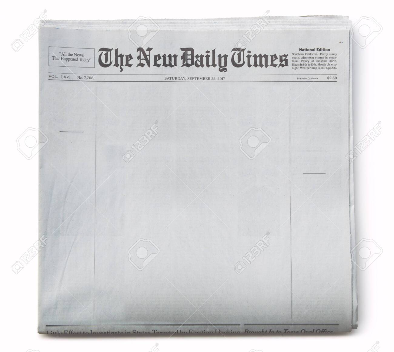 Fake Newspaper Front Page Blank with Title - 120354918