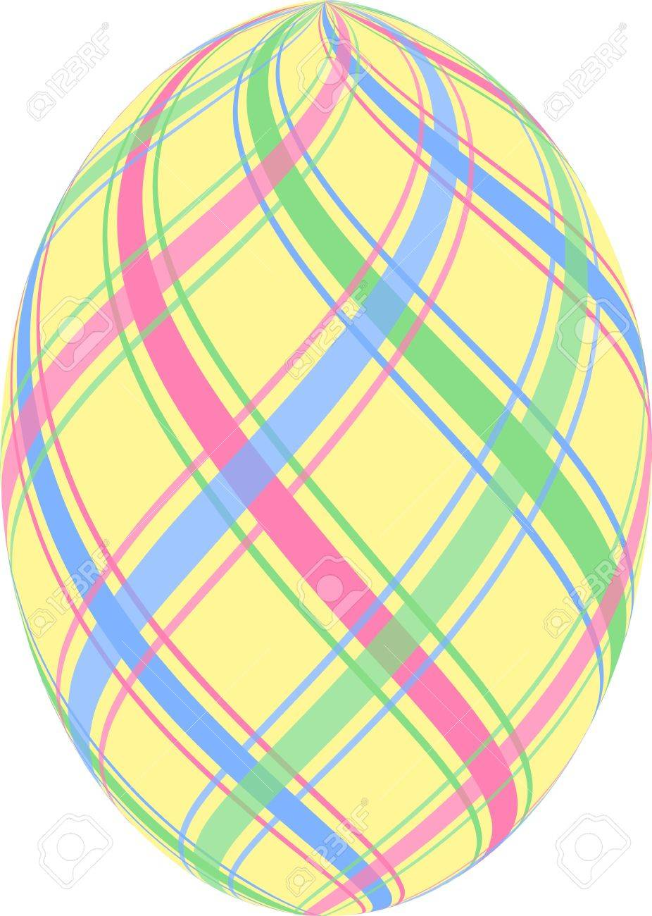 Yellow Easter Egg With Pastel Blue Pink And Green Stripes Stock Photo