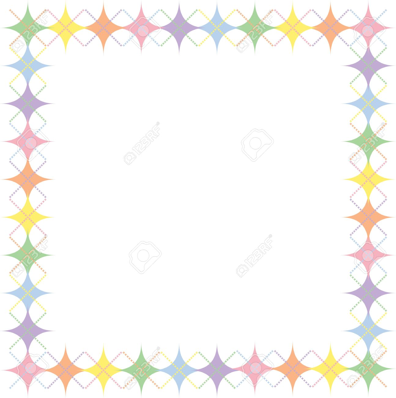 Border Of Pastel Rainbow Colored Argyle Stars Pattern With Space