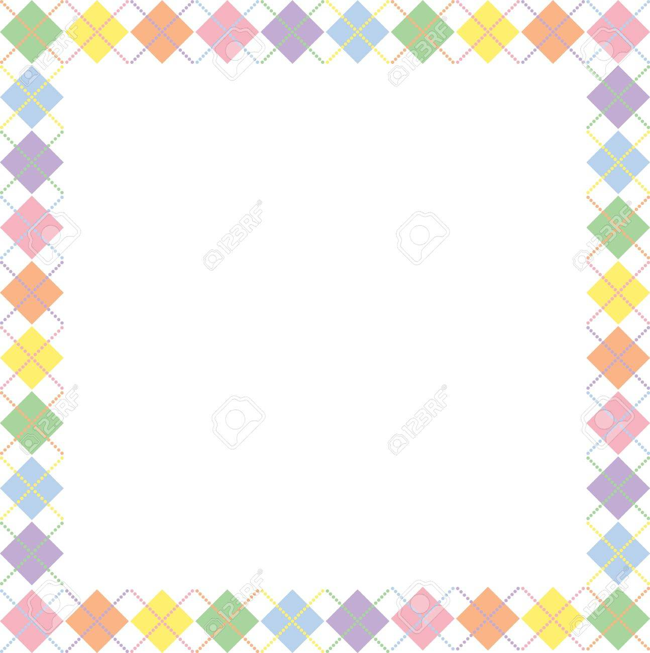 Border Of Pastel Rainbow Colored Argyle Pattern With Space For