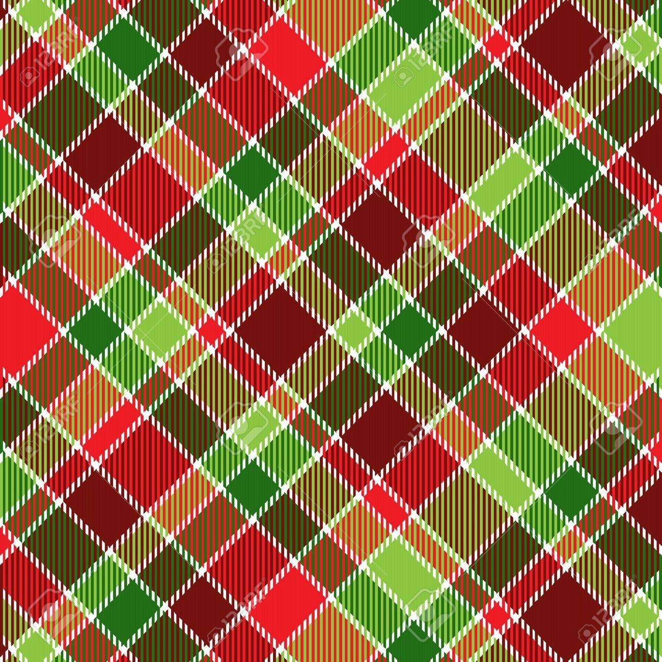 Christmas Colors.A Plaid Background Pattern In Christmas Colors