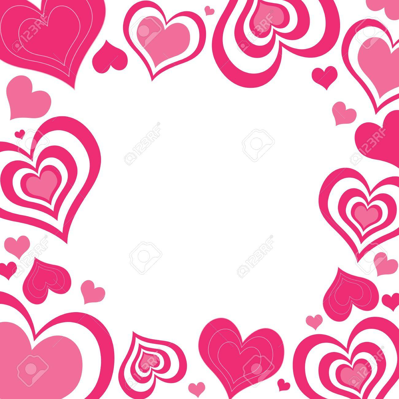 an illustration of valentine hearts border in shades of pink stock