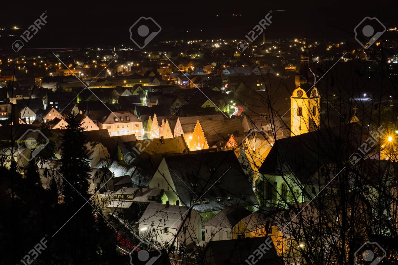 The bavarian city Schwandorf at night Stock Photo - 16800103