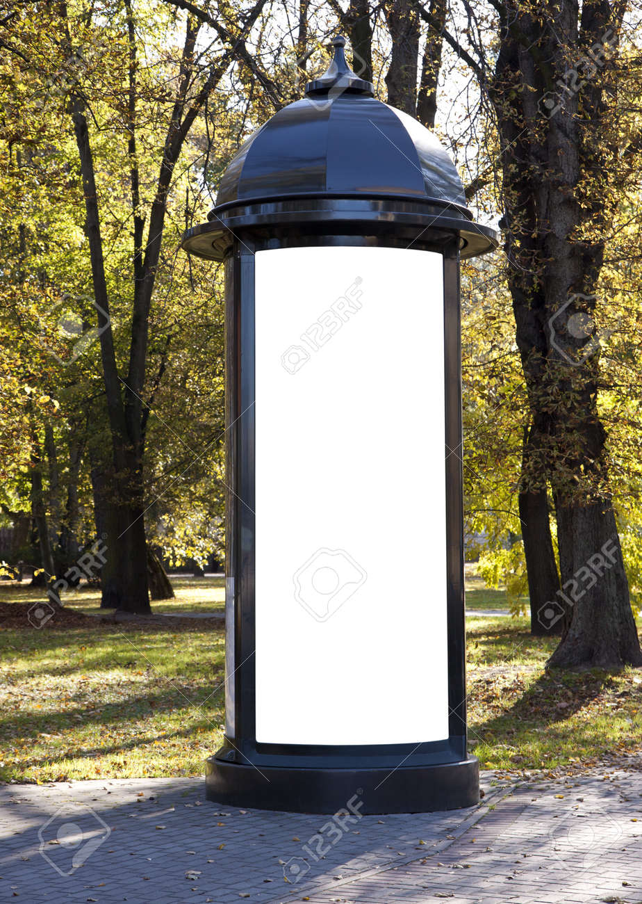 Classic style empty billboard in the park on autumn to add text Stock Photo - 11602124