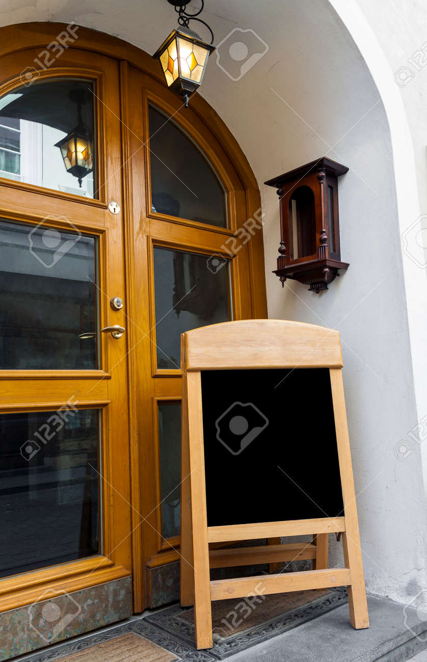 Picture of wooden board for restaurant menu outside restaurant doors. Board is blank ready & Picture Of Wooden Board For Restaurant Menu Outside Restaurant ...