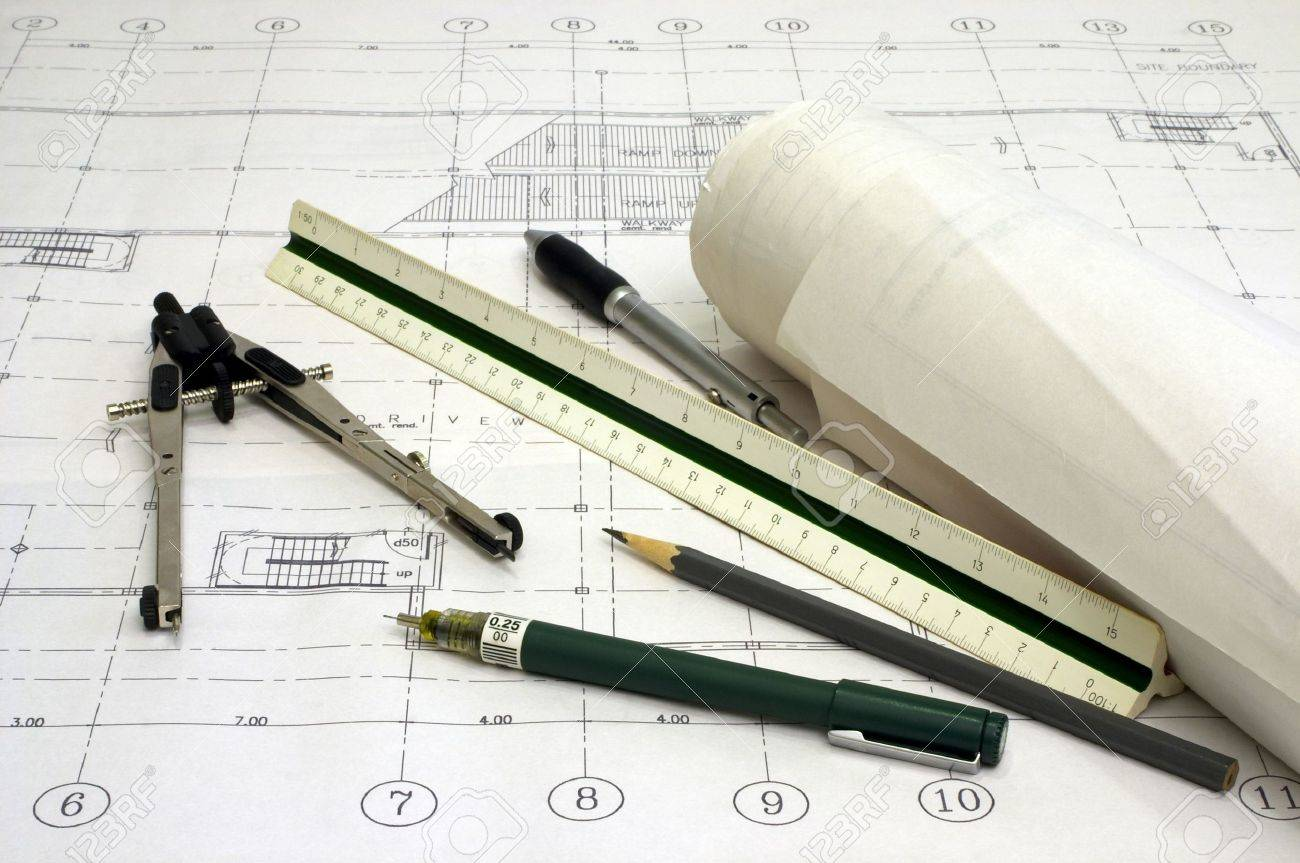 Architectural drawings with various drawing tools stock photo 257722