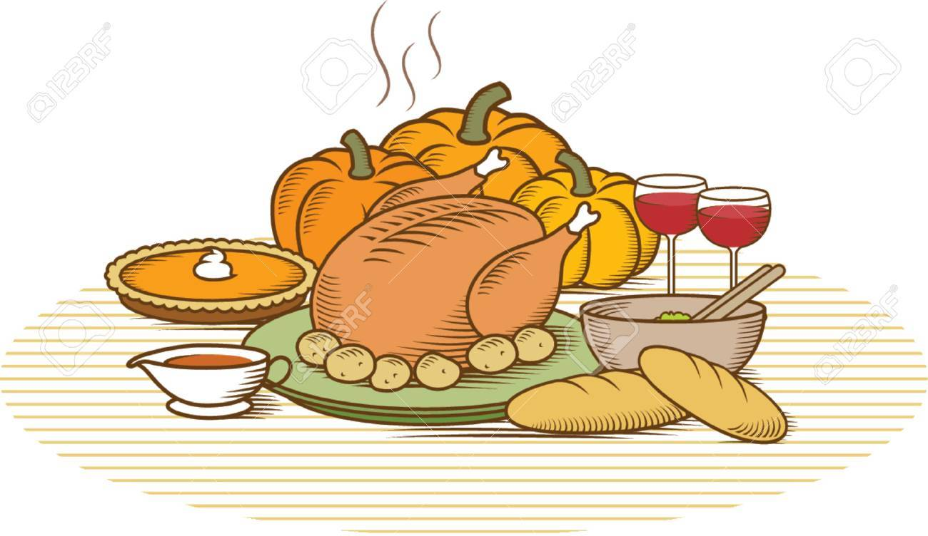 Woodcut style illustration of turkey with pumpkin pie, pumpkins, potatoes, salad, vegetables, gravy, bread & wine.  Duotone colour version of this illustration with different backgrounds also available in my portfolio. Stock Vector - 581096