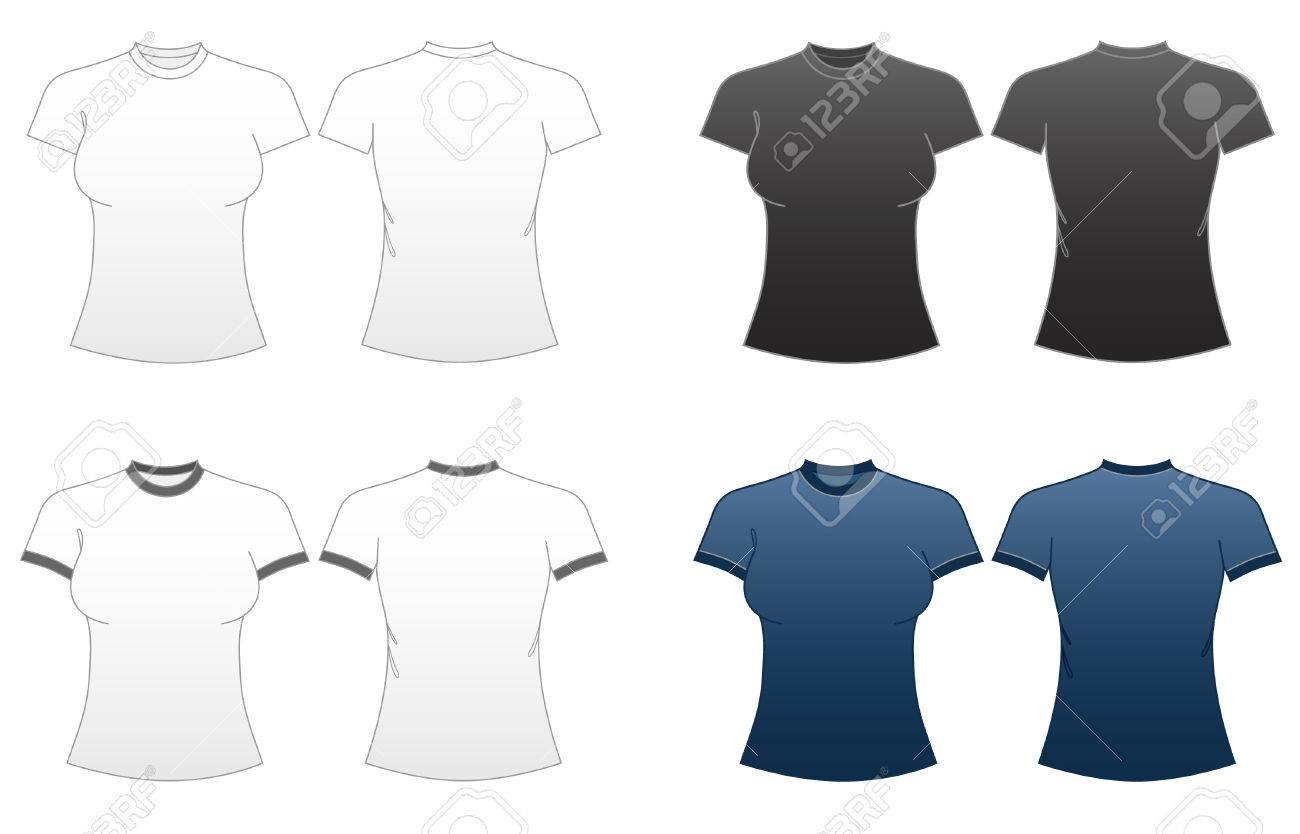Women\'s Fitted T-shirt Templates Series 1-roundneck And Ringer ...