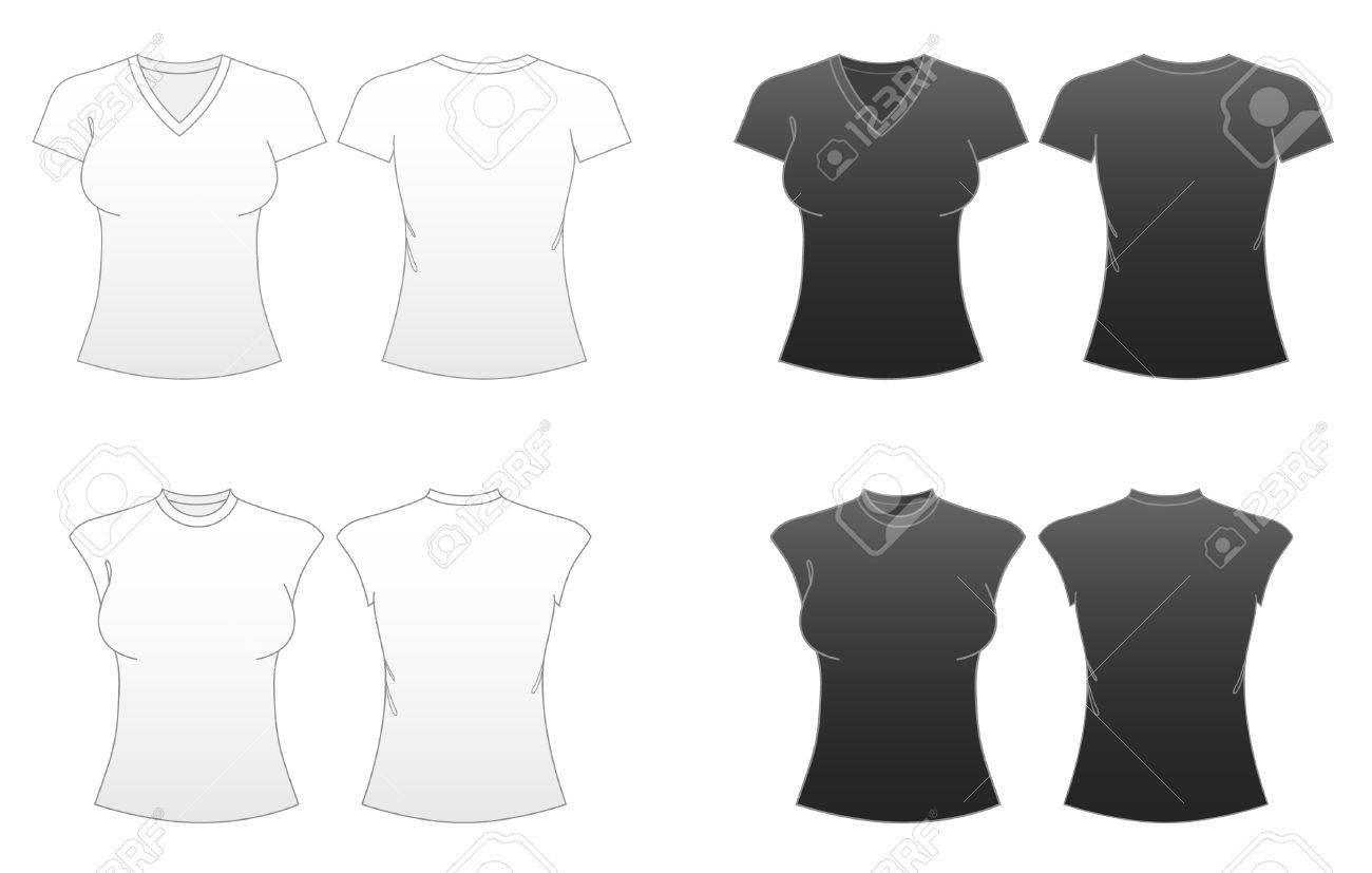 Women\'s Fitted T-shirt Templates Series 2-V-necked And Capped ...