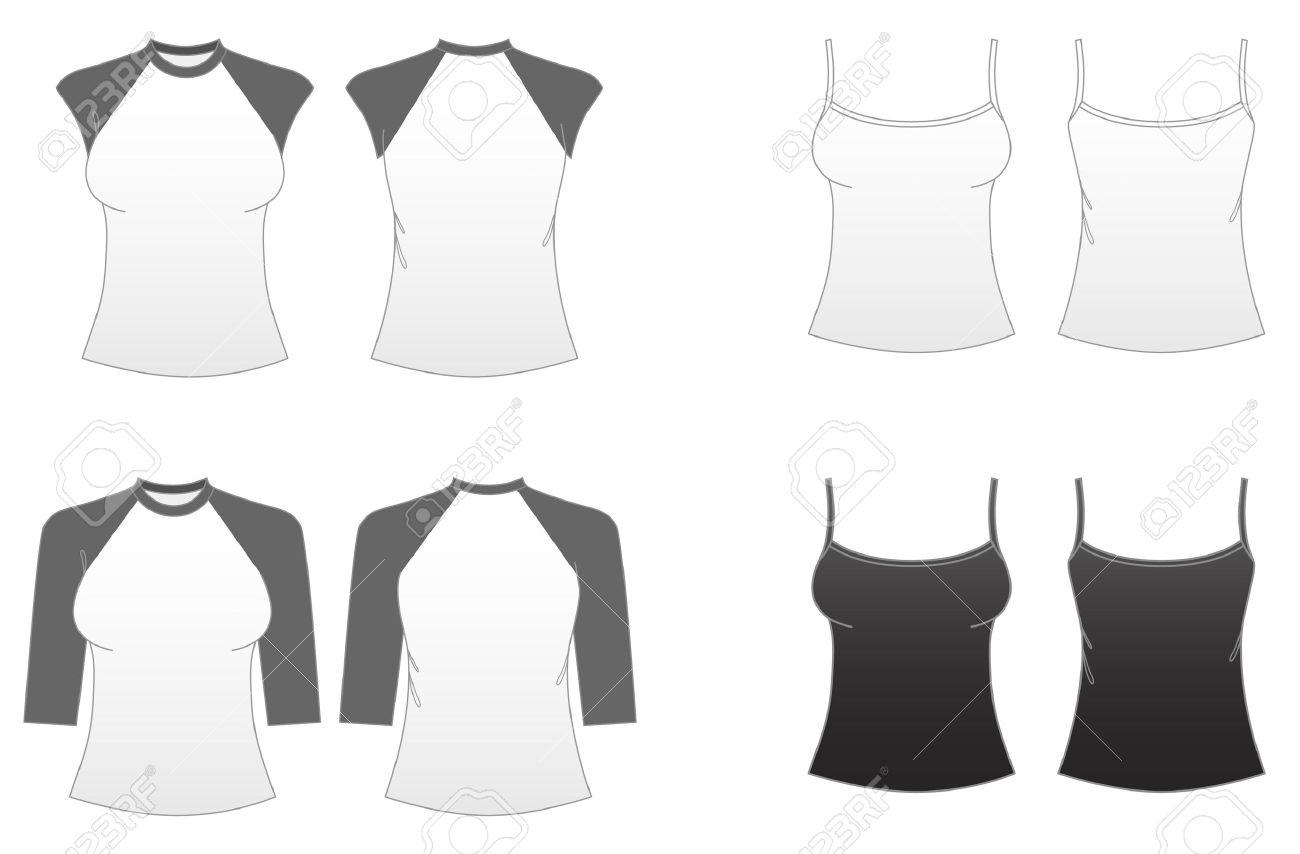 Women\'s Fitted T-shirt Templates Series 3-Spaghetti Strap Sleeveless ...