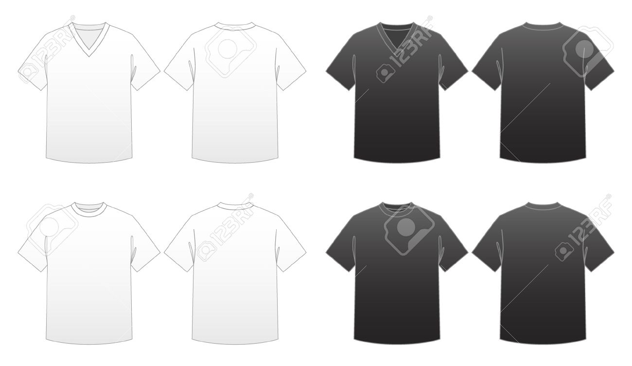 Black t shirt vector template - Men S T Shirt Templates Series 1 V Neck And Round Neck Tees