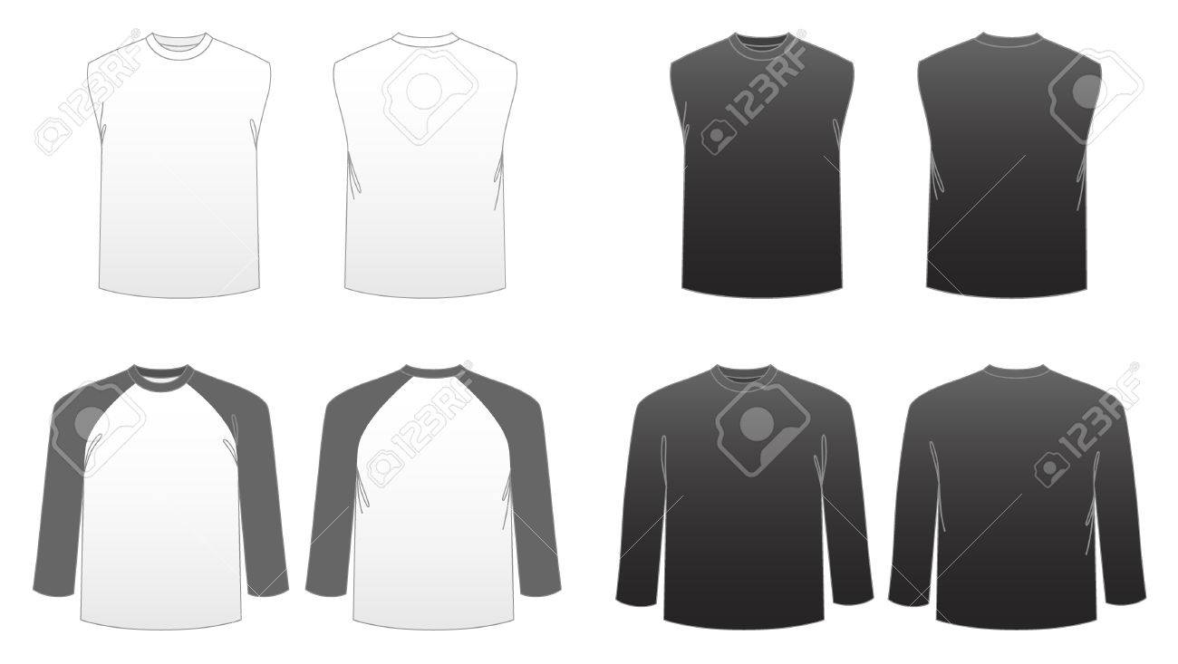 Men\'s T-Shirt-Vorlagen Serie 3-Long Sleeve, Baseball-und Sleeveless ...