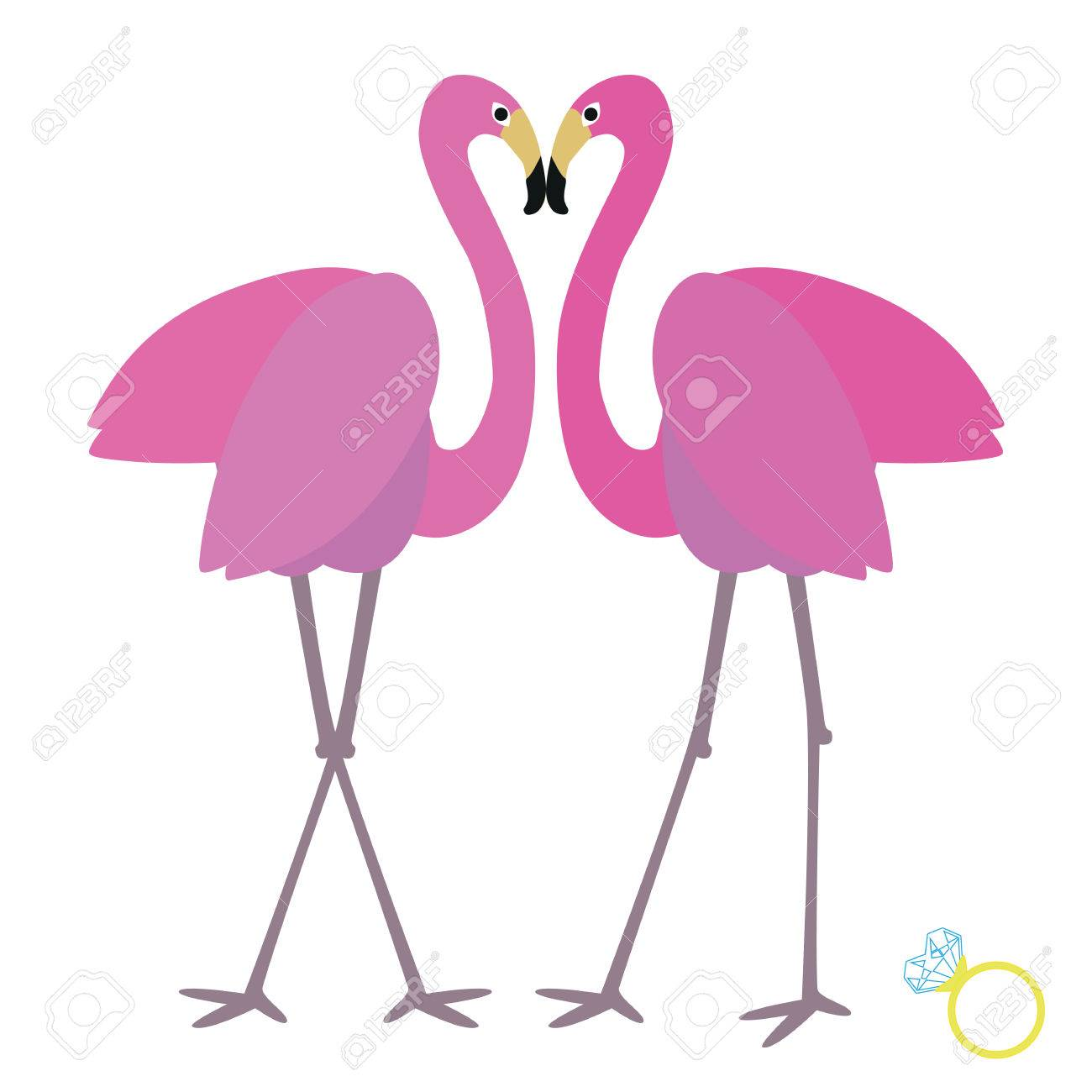 Vector Illustration Background Or Post Card With Two Flamingos ...