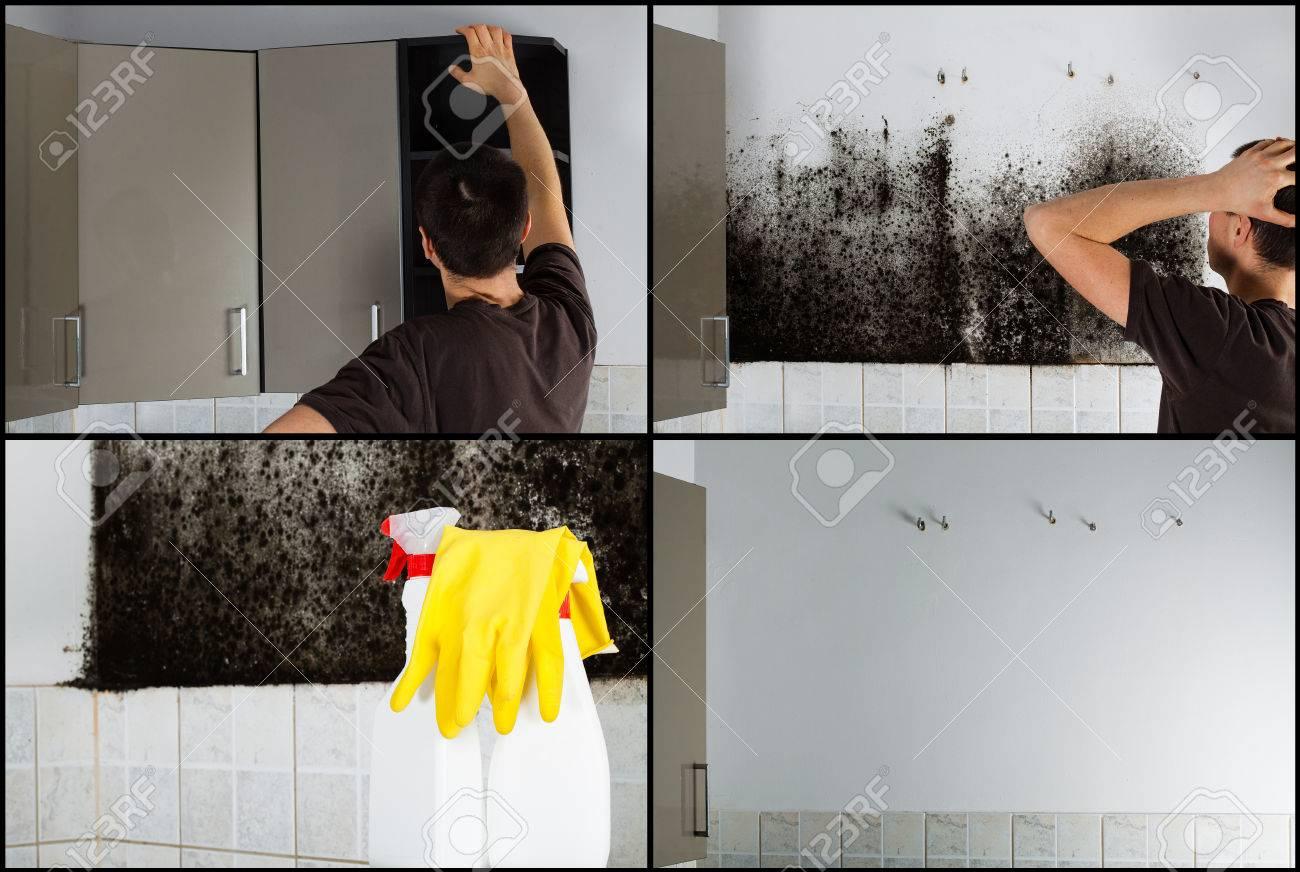 Elegant Collage Von Fotos Einen Mann Zu Entfernen Schimmel Hinter Den Zeigt  With Schimmel Hinter