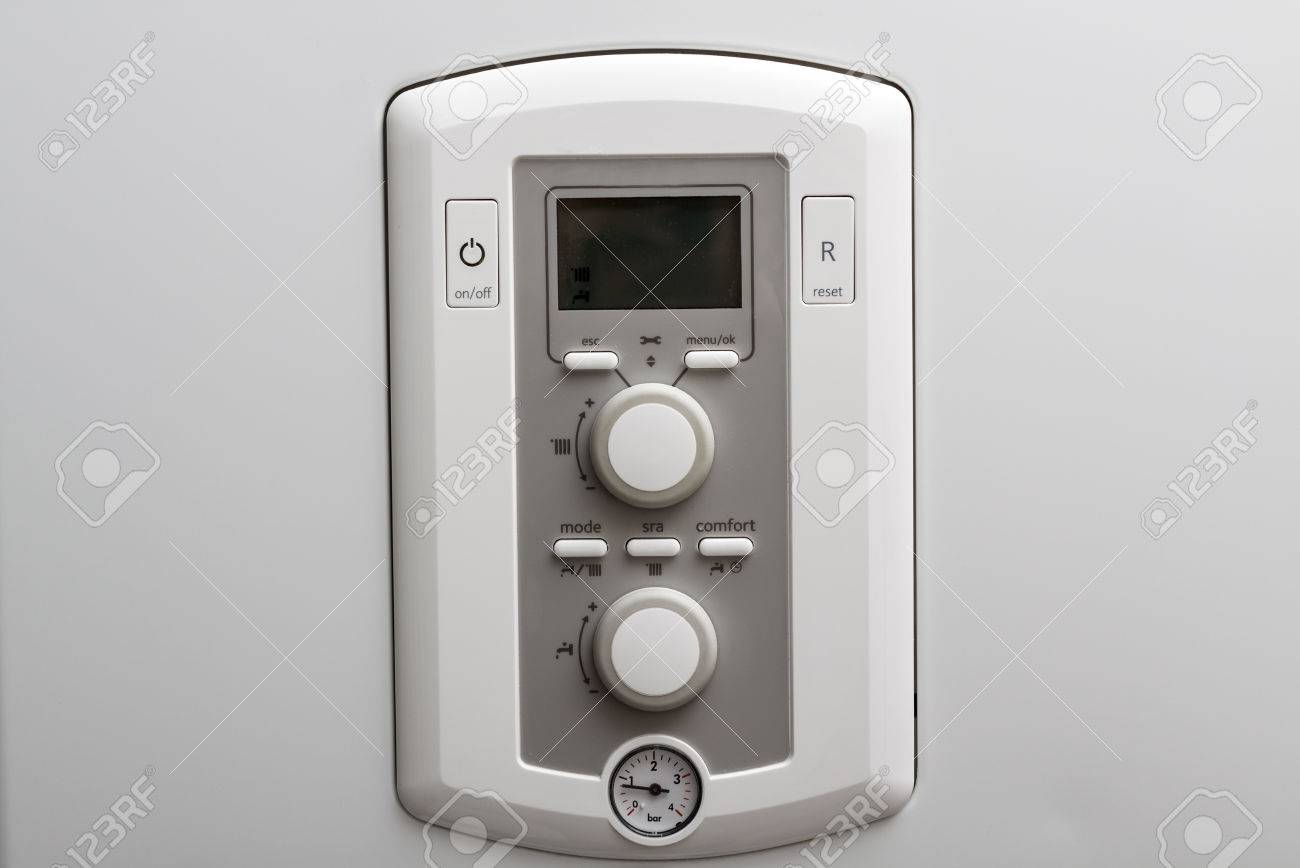 Control Panel Of DHW Or Central Heating Combi Boiler In A Restroom ...