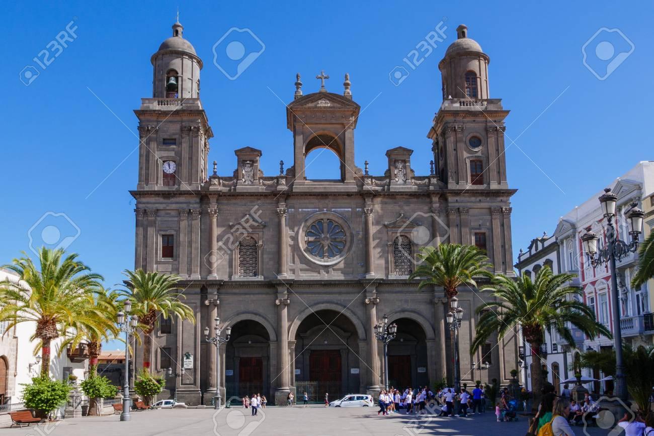 Santa Ana Catedral Plaza Santa Ana Vegueta Old Town In Las Stock