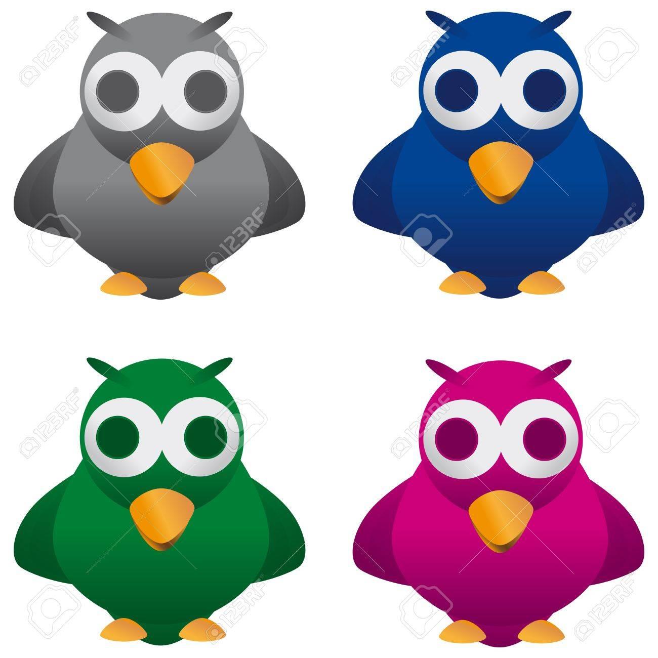 Merry Cuckoo Bird Four Color Combinations Stock Vector