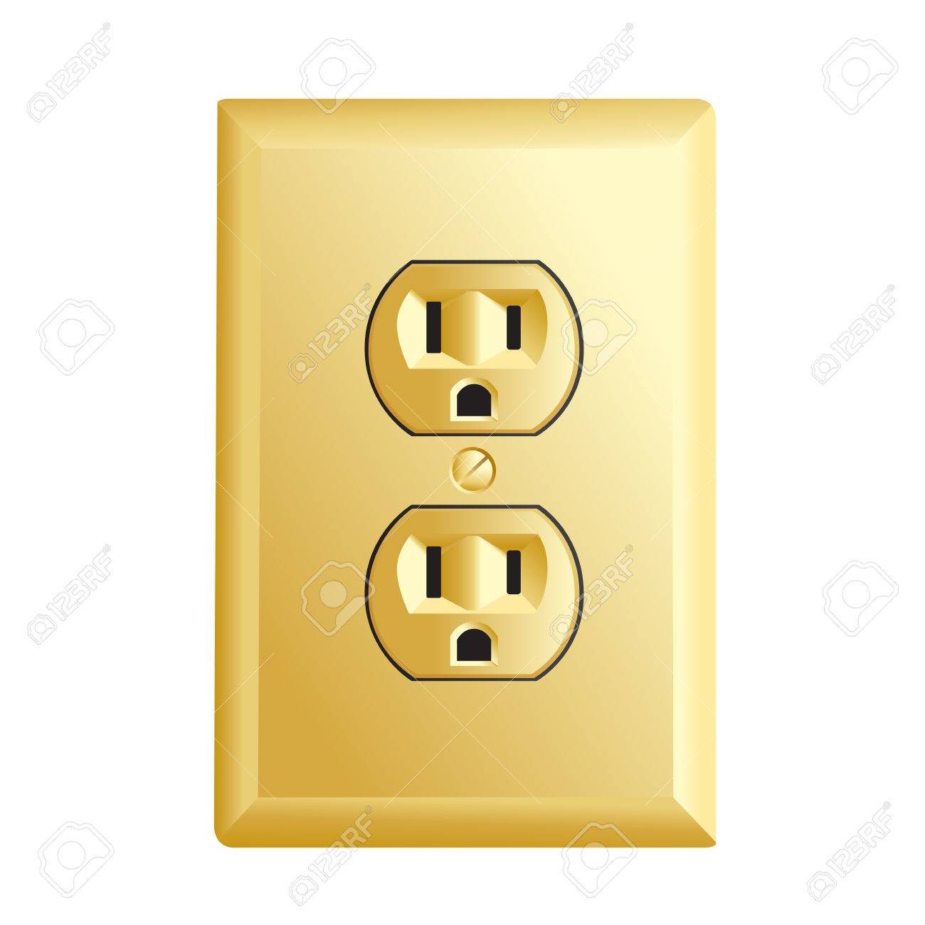 Electrical Outlet In The USA, Gold Color Power Socket Royalty Free ...