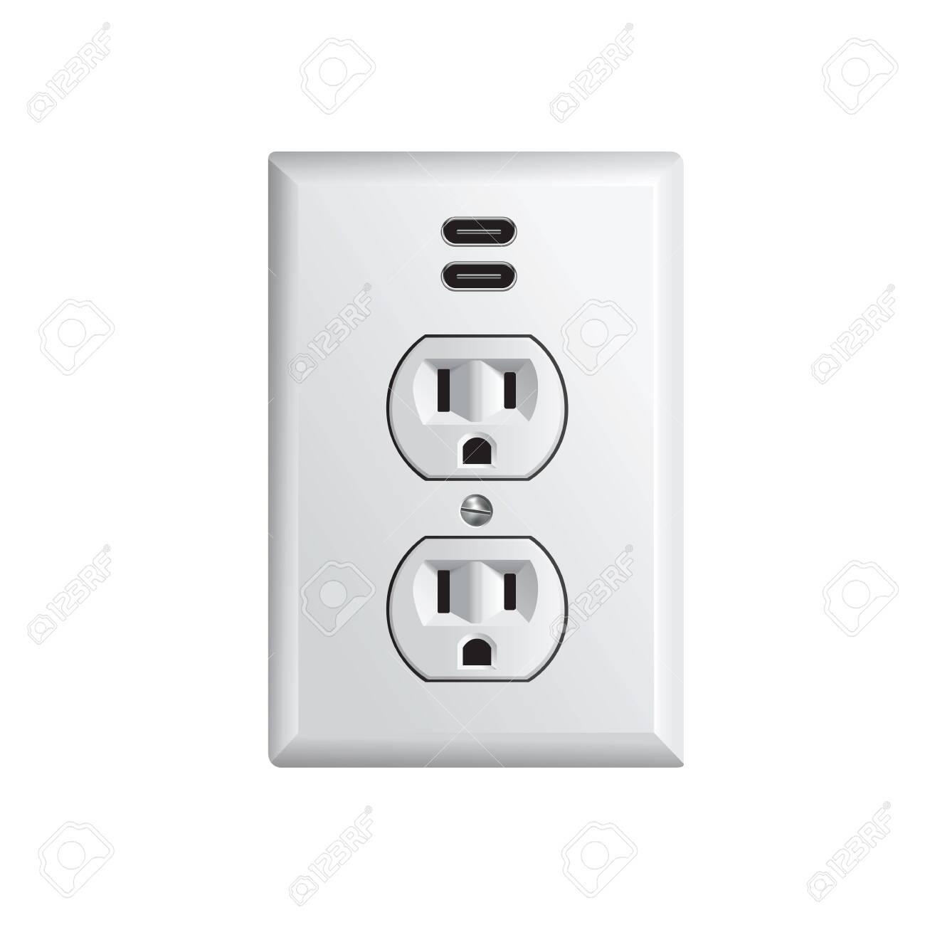 Electrical outlet in the USA, power socket with USB-C - 124352521