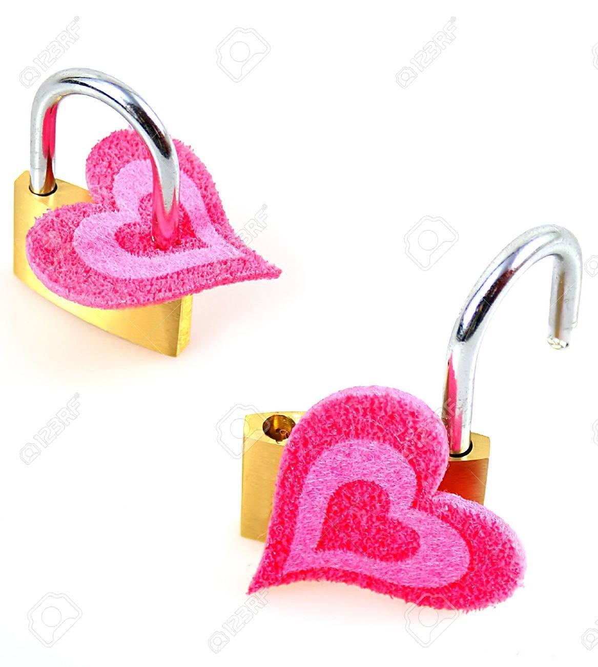 one closed and one opened heart as symbol for love and as sample for my isolated heart objects Stock Photo - 3179055