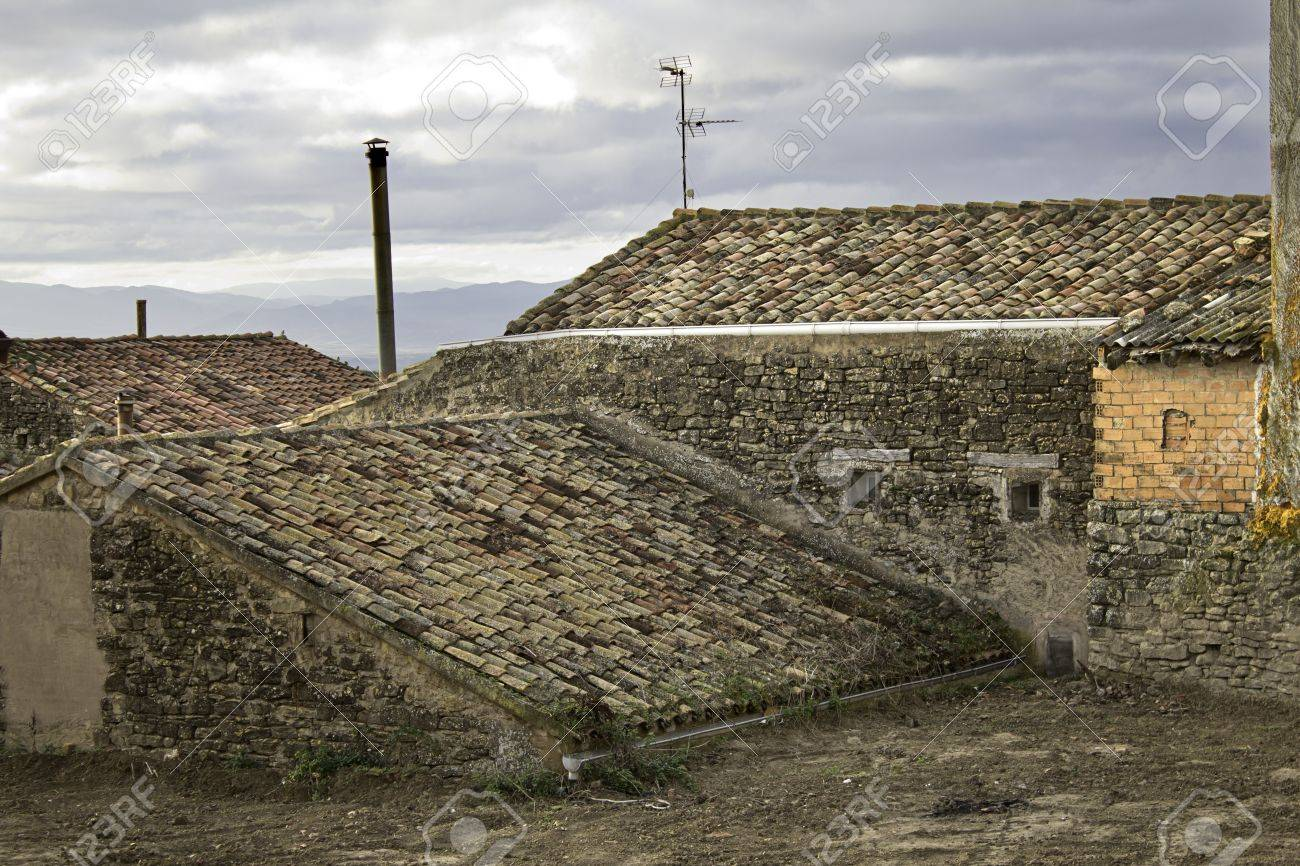 Landscape of old roofs, building in a village Stock Photo - 16502790