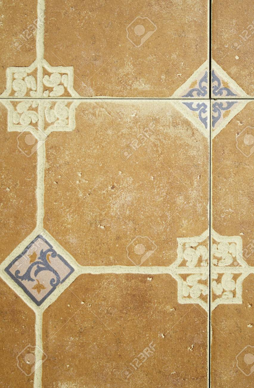 Tiles With Symbols And Shapes Geometric, Old Wall Decor Stock Photo ...