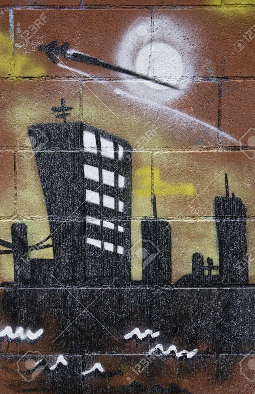 ciudad de graffiti dibujado en la pared decoracin urbana y dibujo artstico foto de archivo