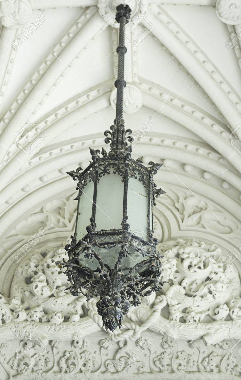 Gothic Ceiling Lamp Hanging On Architectural Construction Stock