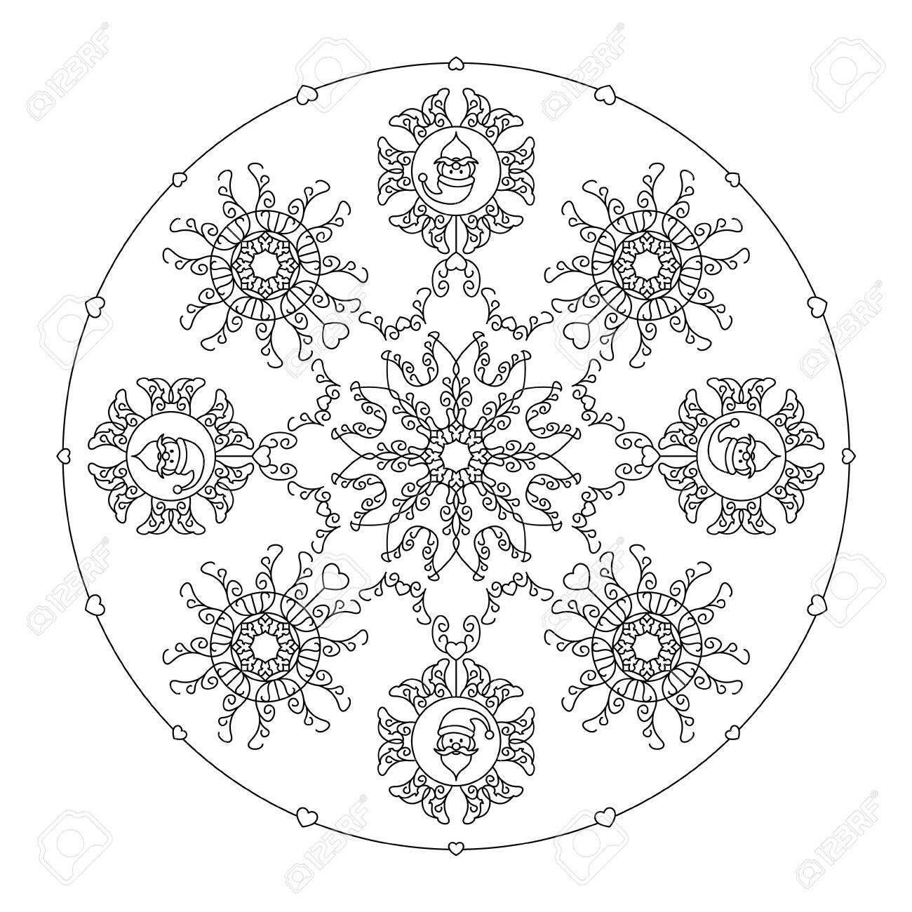 Christmas Mandala Santa Head Fancy Snowflakes And Little Hearts Royalty Free Cliparts Vectors And Stock Illustration Image 156625299